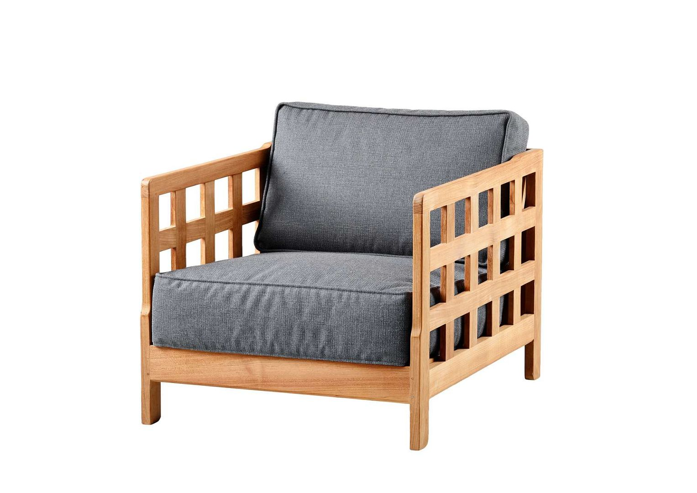Fotel z drewna tekowego z szarą poduszką Cane LineSQUARE | OneGarden.pl