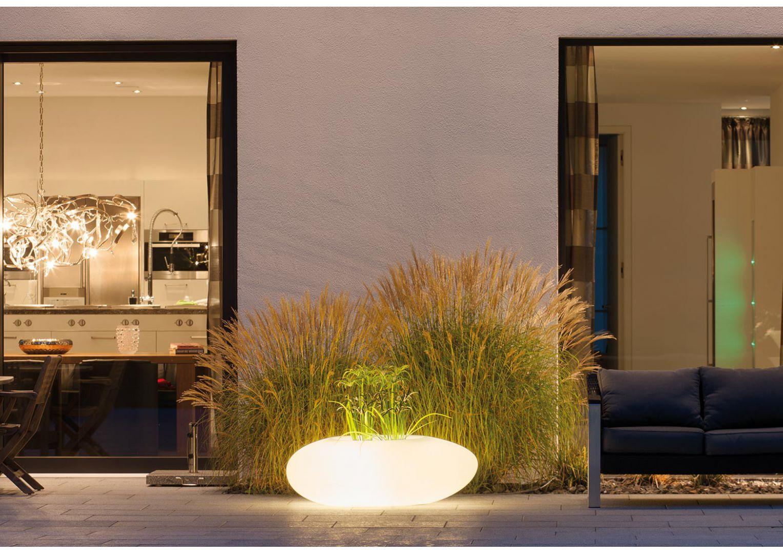 Designerska donica ogrodowa w kształcie kamienia Degardo Storus III podświetlana