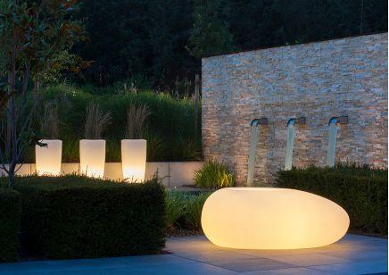 Designerska Donica ogrodowa w kształcie kamienia Degardo Storus II podświetlana