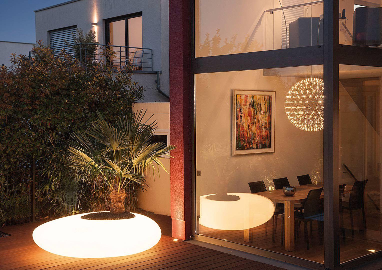 Donica ogrodowa w kształcie kamienia Degardo Storus I podświetlana do ogrodu, restauracji, kawiarni